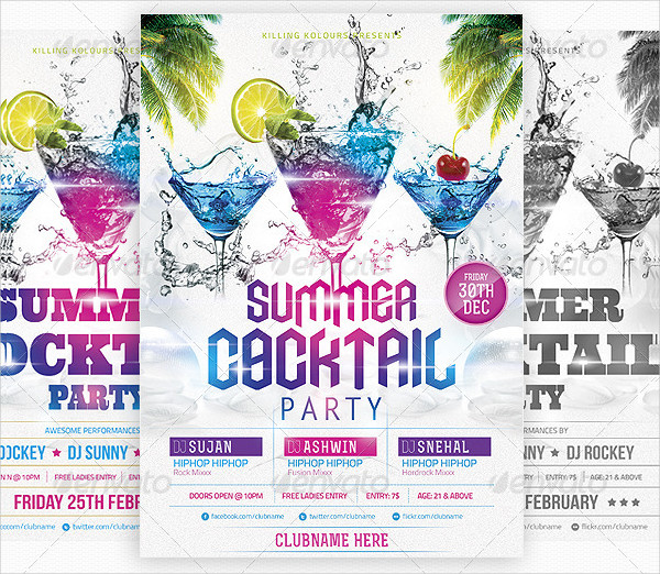 Summer Cocktail Party Flyer Template