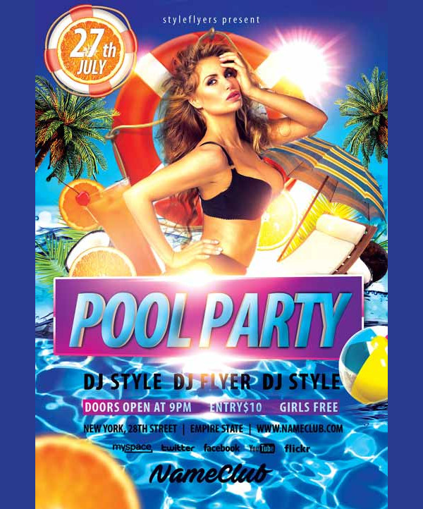 Summer Pool Party Event Free Flyer PSD