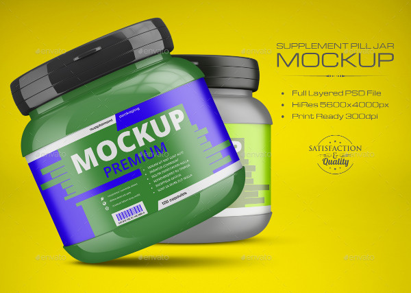 Supplement Pill Jar Mockup