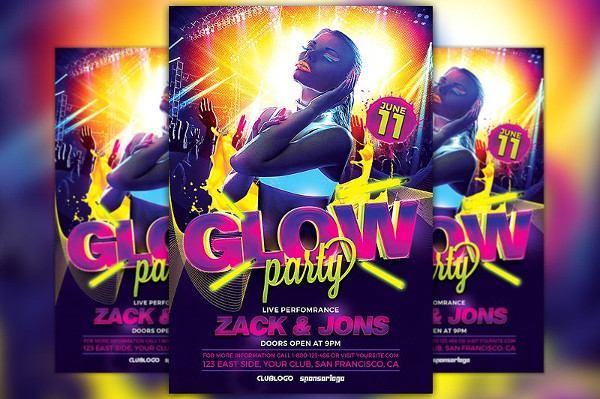 Neon Glow Party Flyer Template