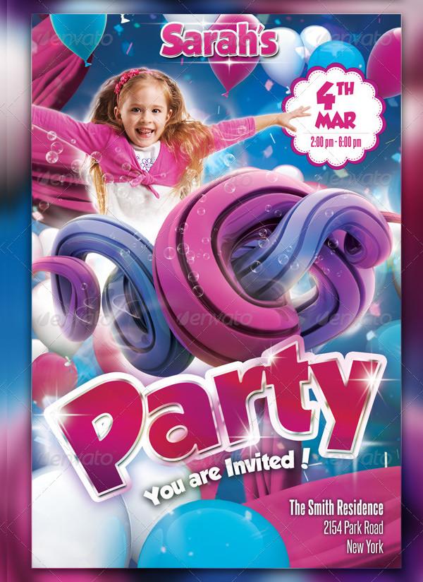 Unique Kids Party Flyer