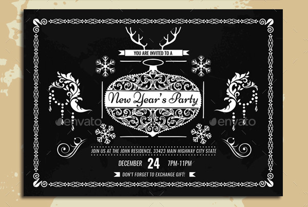 Vintage Holiday Invitation Templates Pack