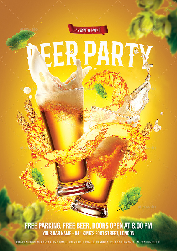 Perfect Beer Party Flyer Design