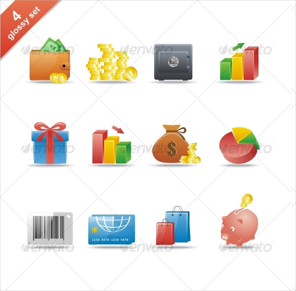 Business Glossy Icon Set
