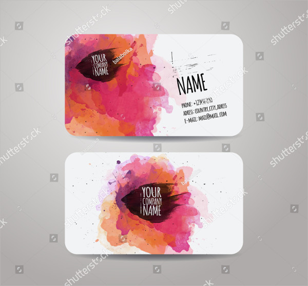 Business Cards with Watercolor Paint Abstract Background