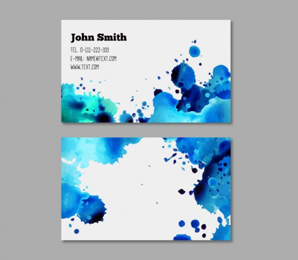 Free Vector Business Card with Watercolor Design