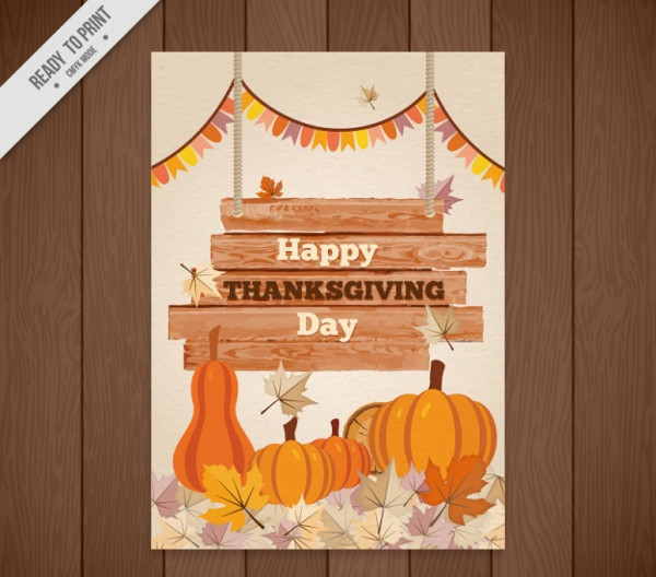 Happy Thanksgiving Watercolor Flyer Free Vector
