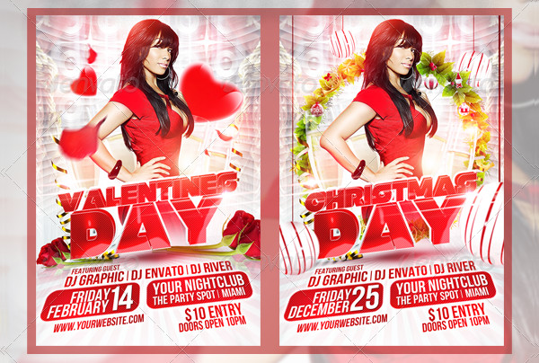 Attractive Red & White Party Flyer