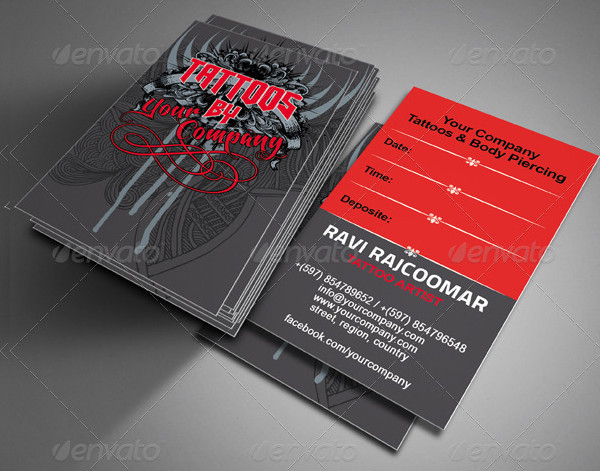 Stylish Tattoo Designer Business Card