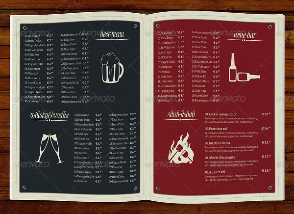 Perfect Bar Menu Templates