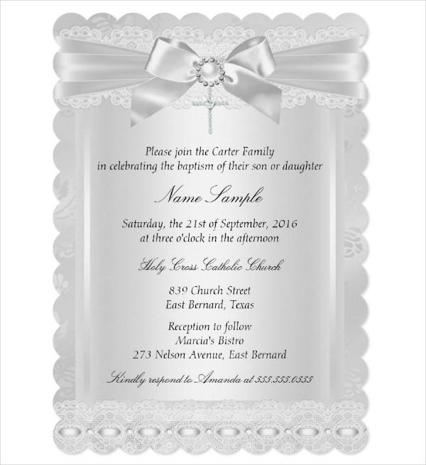 White Lace Cross Baptism Invitation Card