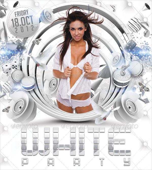 Amazing White Night Party Flyer Design