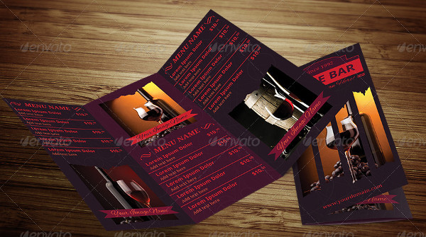 Wine Trifold Menu PSD Design