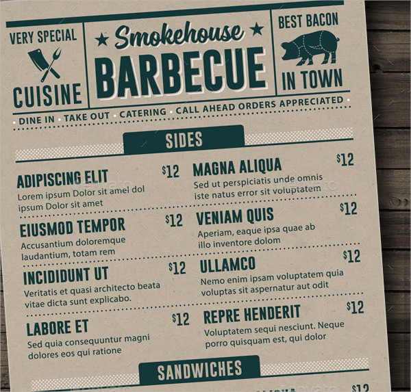 Print Ready BBQ Menu Template