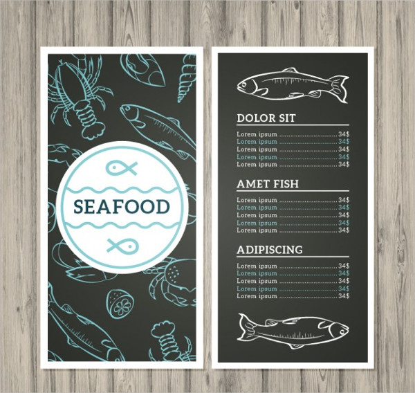 Hand Drawn Seafood Menu Free Vector