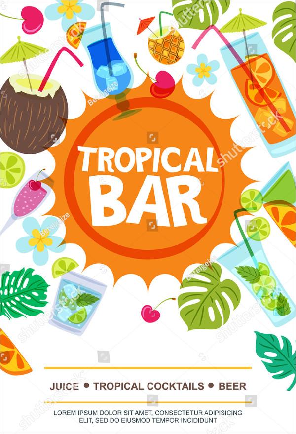 Tropical Bar Vector Flyer Template