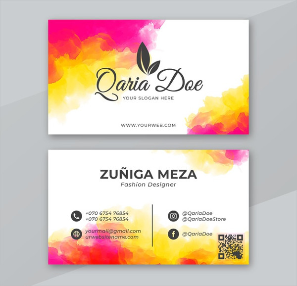 Watercolor Free PSD Business Card Template