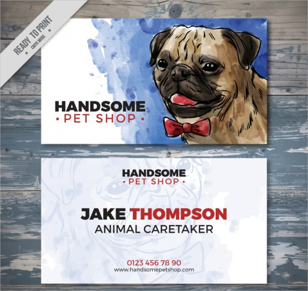 Watercolor Pet Store Business Card