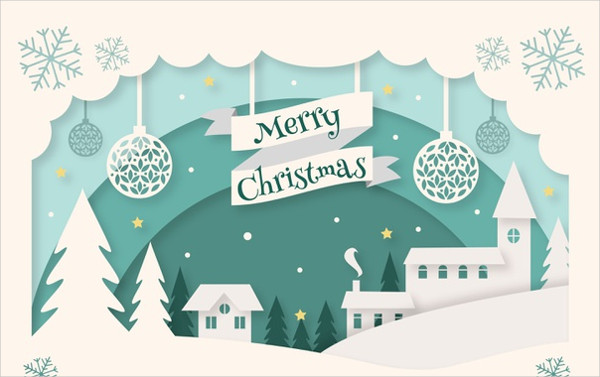 Christmas Background in Paper Style Free