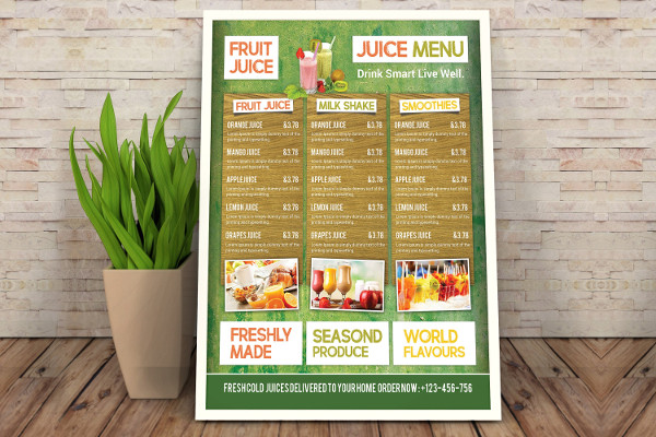 Delicious Fruit Juice Menu Template