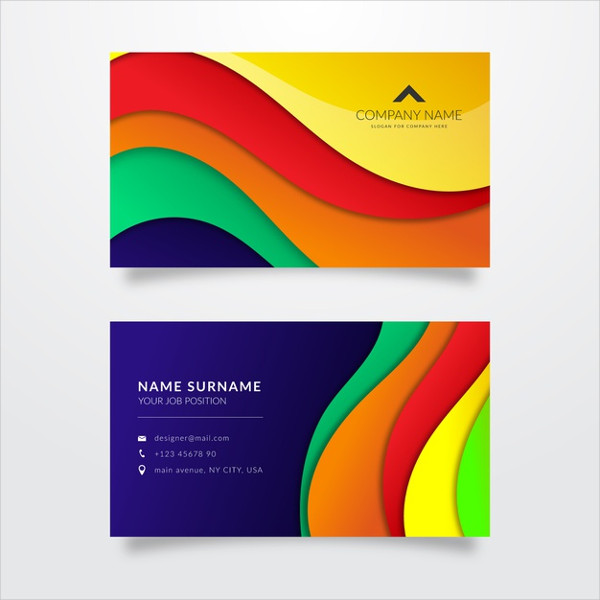Multicolored Business Card Template Free Download