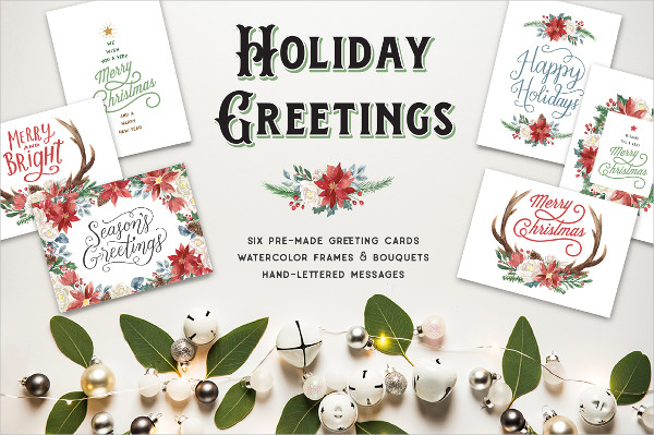 Printable Holiday Greeting Cards and Clip Art Set