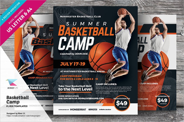 Professional Basketball Camp Flyers