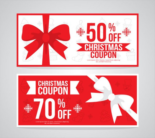 Red & White Christmas Coupons Free Vector