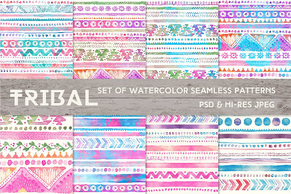 Set of Watercolor Seamless Ornaments