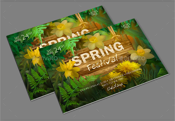 Spring Festival Watercolor Flyer Template