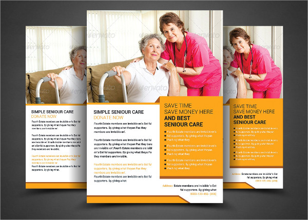 Simple Elderly Care Agent Flyers Template