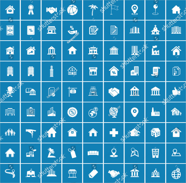 Clean Real Estate Business Icons