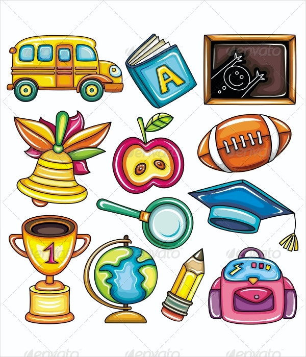Colorful School Icons for Children