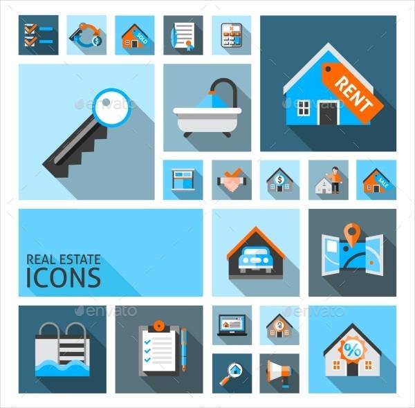 Stylish Real Estates Icon Set with Garage Location