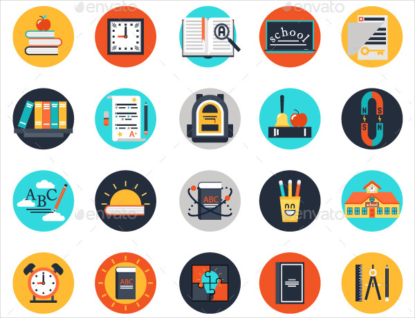 Set of 20 Flat Web Icons For School Education