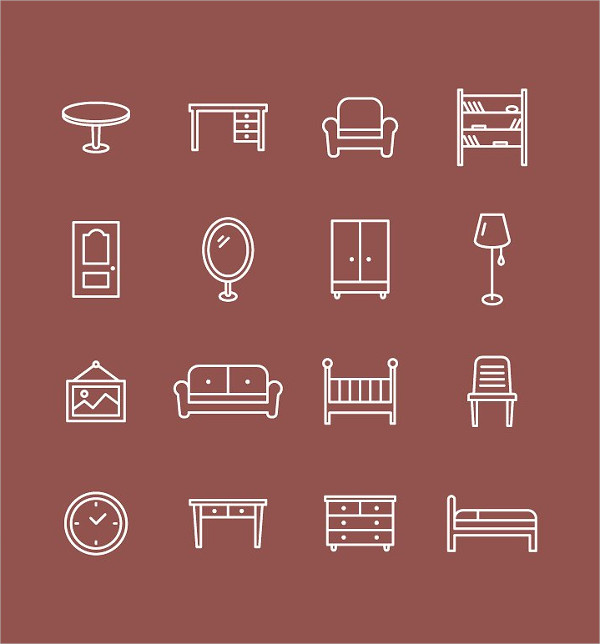 Home and Office Furniture Icon Set
