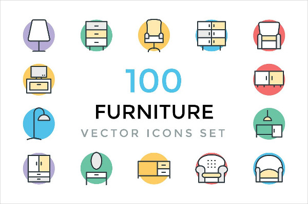 100 Furniture Vector Icons Pack