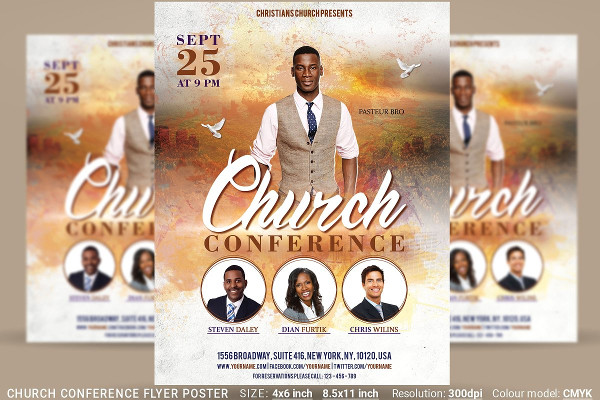 Clean Church Worship Flyer Template
