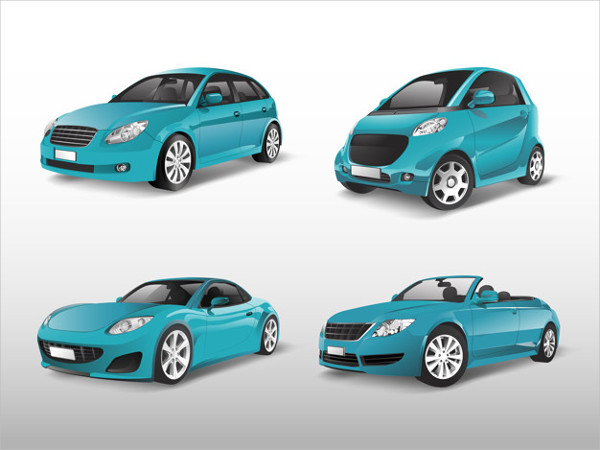 Set of Blue Car Vectors Free