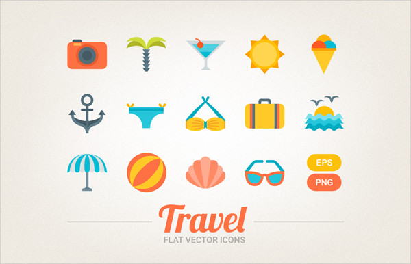 14 Travel Flat Vector Icons
