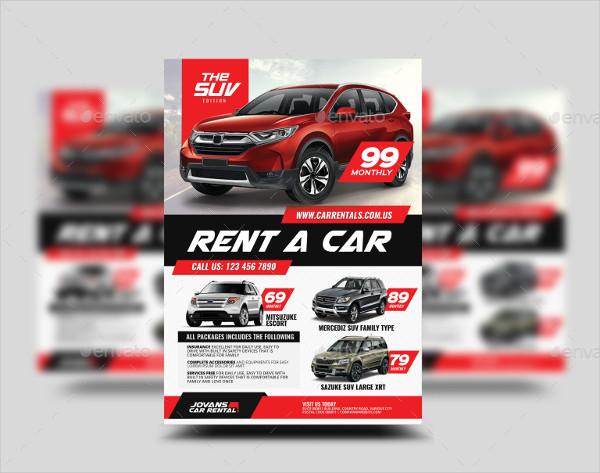 Car Rental Promotional Flyer Design Template