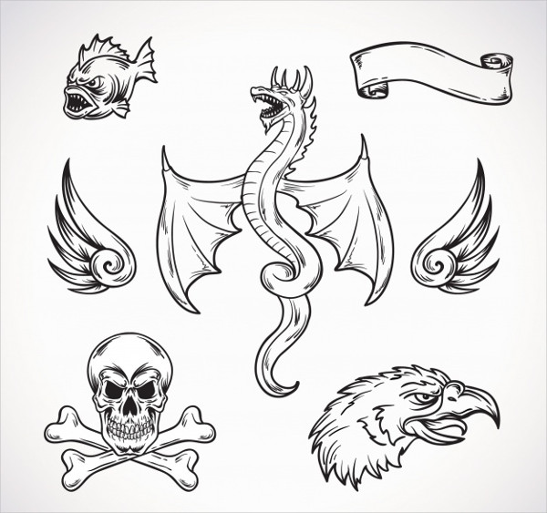 Hand Drawn Creatures Tattoos Free Download