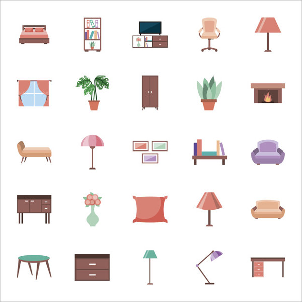 House Elements Set Icons Free Download
