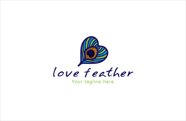Love Feather Peacock Stock Logo Template