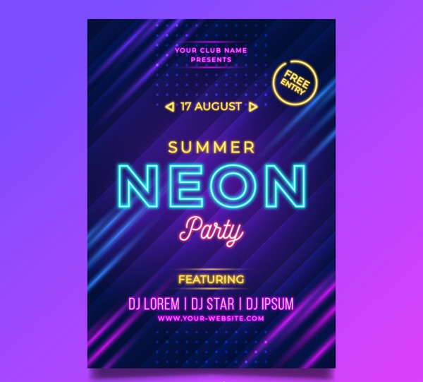 Neon Glow Party Free Flyer Template
