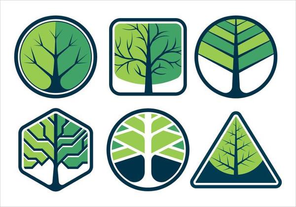 Set of Tree Logos Vector Free Download