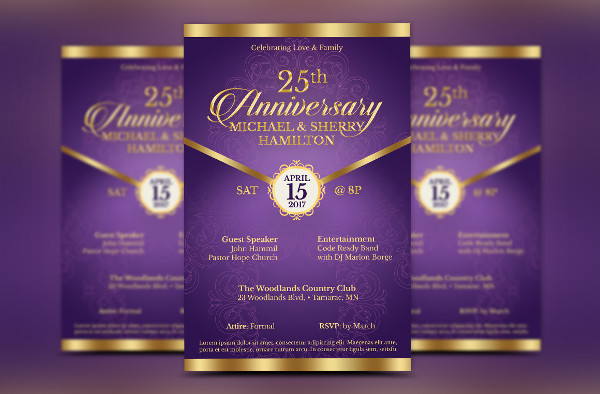 Wedding Anniversary Gala Flyer Design
