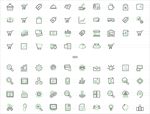 158 E-Commerce Line Green & Black Icons