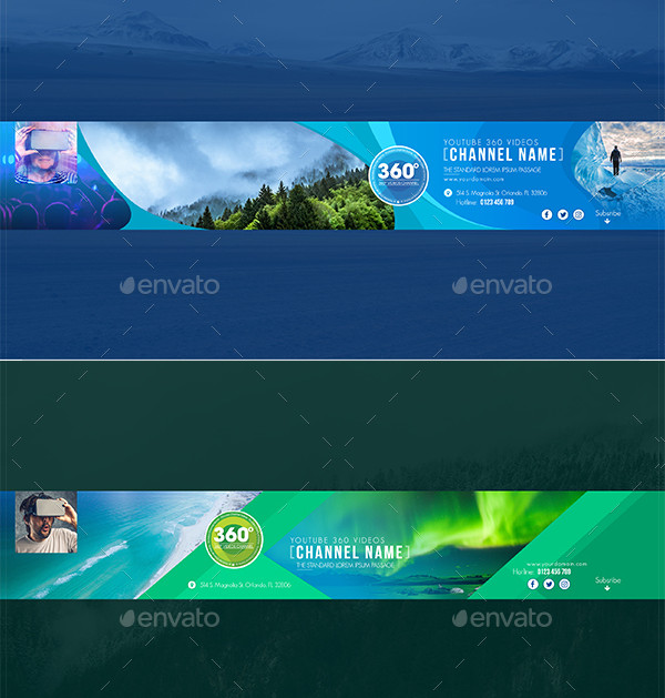 360 Video Channel Youtube Banners