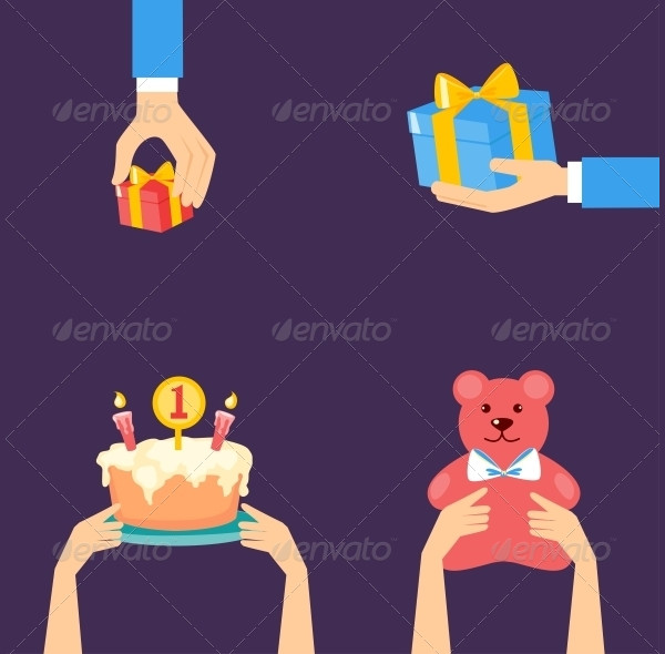 Vector Birthday Illustrations in Flat Style